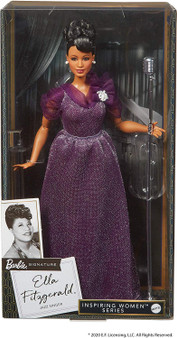 """A chance opportunity to perform at the famous Apollo Theater catapulted Ella Fitzgerald into stardom to become one of the most popular and beloved jazz singers in the world. With her incomparable voice and spirit of determination, Ella earned the title """"First Lady of Song"""" and the adoration of fans across generations. Ella Fitzgerald Barbie doll features a curvy body type and wears an elegant gown in a shimmery deep purple with sheer, gathered sleeves. An elegant up-do and pearlescent brooch complete her stage-ready look. This collectible Barbie doll includes a microphone and stand with a vintage look and is fully articulated for endless posing possibilities."""