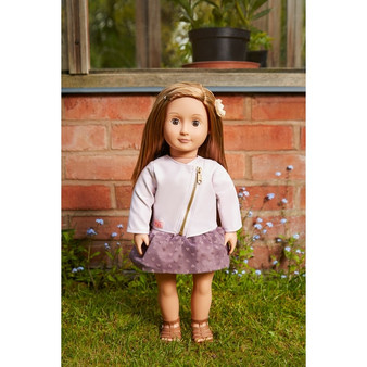 This Our Generation Vienna Doll can't wait to meet her friends for a stroll! She's dressed in an adorable purple dress and sandals. Her pink leather jacket will keep her warm on her stroll.