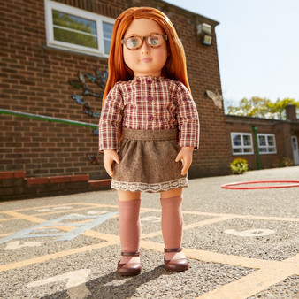 "Your little one will love the April 46cm/18"" doll from the Our Generation range! April is our glasses girl with eyes so pretty they just had to be framed with some cute tortoise shell spectacles. With her beautiful soft auburn hair and autumnal outfit she's is just waiting to be adored."