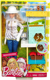 The Barbie beekeeper doll and playset comes with a beehive that has surprise features and accessories to play out sweet aspirations The colourful bee-keeping structure has a blue beehive with bees kids can spin and a honeycomb they can slide in and out Red and pink flowers, as well as the top of the beehive frame, have slots that can hold the included bees to explore pollination, honey making and more Additional accessories include a computer monitor and two honey bears Barbie doll is dressed for work in a beekeeping outfit with bee-decorated jacket, blue pants, brown boots, white gloves and a beekeeper's hat with netting Dream big with Barbie dolls and playsets with career themes pick one profession or try them all because with Barbie, you can be anything (each sold separately, subject to availability)