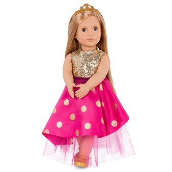 Includes: 1 Our Generation doll, 1 dress, 1 pair of undies, 1 pair of shoes and 1 tiara Sparkle and shimmer in the perfect party dress Style Sarah's long blonde hair with the tiara Doll size 46cm