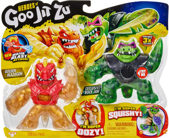 Heroes of Goo Jit Zu are back to battle. All new super squishy, stretchy heroes now with new fillings and new weapon fists! The Versus pack includes 2 figures. Including an exclusive GOLDEN Blazagon Golden Blazagon is super oozy. When you squish him, his gold insides bulge out. Rockjaw is super squishy, when you squeeze him his purple water beads bulge. Rockjaw is only available in this Versus Pack! Now with Water blast attack! Fill Blazagon's head with water, aim and fire water! Heroes of Goo Jit Zu provides kids with a new GOOEY way to play with action figures, with no mess! They are now more durable than ever before!
