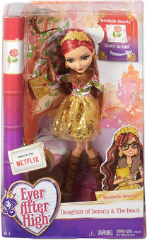 At Ever After High, the teenage sons and daughters of the most famous fairytales turn tradition on its crown when they decide to Choose Their Own Ever After's! Rosabella Beauty, daughter of Beauty and the Beast, has decided to rewrite her destiny as an Ever After Rebel The pose able doll wears her iconic outfit from the webisodes: a petal-print look with furry lapel and gold foil layered skirt -- and her signature brown rose-decorated eyeglasses Tall brown boots and a golden belt bring the look together beautifully Accessories include golden chandelier earrings, a cuff bracelet with ring, rose-decorated headband and golden book-shaped clutch