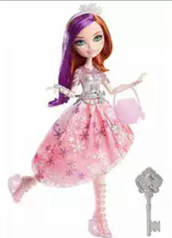 Poppy O'Hair doll, daughter of Rapunzel, looks spellbinding in a pink and silver ice-inspired dress with enchanting shimmer shine throughout. Decorated with a cutting-edge snowflake print and scissors-adorned belt, she is ready to try her hand — or rather her feet — at ice-skating. Winter-themed accessories include a snowflake headband, translucent icicle earrings and a trendy silvery bracelet. Pink ice-skating boots show off her signature style, while an ice-like translucent purse incorporates fairytale influence with an iconic pattern. Girls can recreate favorite scenes from the webisodes or develop new epic plots of their own — whether they ice skate into adventure or their own happily ever afters.