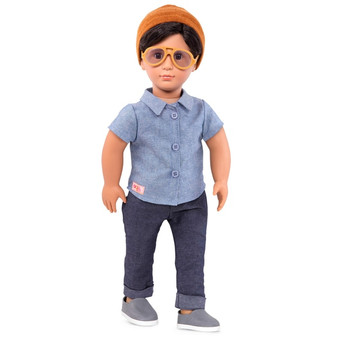 Have you met Franco? This new Our Generation boy doll just moved in, and he's ready to make friends.  Franco has brown eyes and dark hair that you can style in lots of different ways. His lucky beanie hat is one of his favourite things – but he doesn't mind sharing it if your other dolls need a little good luck.  Dressed in comfortable dark blue jeans, a blue buttoned-down shirt and teardrop sunglasses, Franco is ready for long afternoons in the sunshine. Mix and match your boy doll's clothes with other Our Generation doll outfits to change up Franco's style – he loves sports and outdoor adventures, so athletic outfits are sure to go down well.