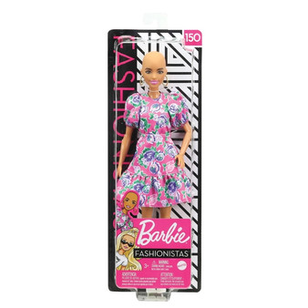 The latest line of Barbie Fashionistas dolls includes 5 body types, 10 skin tones, 8 eye colours, 19 hair colours, 19 hairstyles and so many fashions inspired by the latest trends! Barbie doll has no hair and wears a pink dress with colourful floral pattern and puffy sleeves. White booties and a pair of golden hoop earrings complete the outfit. Makes a great gift for kids 3 years and older they can play with style, play out stories and discover Barbie ! More variety makes collecting Barbie Fashionistas dolls even more fun kids can collect them to expand the possibilities (each sold separately, subject to availability).