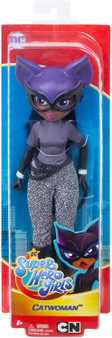 Unleash your inner hero with these DC Super Hero Girls action dolls! This Catwoman doll (approx. 10 in.) comes in her iconic Super Hero outfit with removable accessories. Catwoman doll makes a fashion statement as bold and powerful as she is with her black boots, shimmery suit, sleek tail, and removable cat mask. Featuring a strong build, she can stand alone for powerful posing and action-Packed play. Resilient, feisty, and agile – Catwoman  inspires kids to be true to themselves and discover their own unique super strengths. Collect them all!