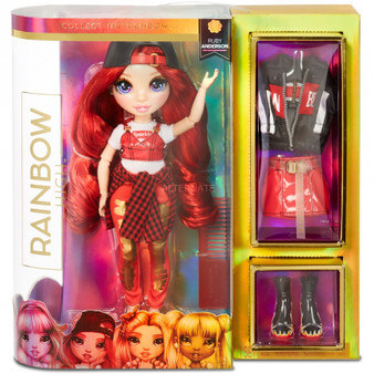 Collect the Rainbow of fashion dolls with Rainbow High. Ruby Anderson is dressed in red from head to toe. She has gorgeous features and beautiful hair. Ruby comes with 2 complete outfits. Dress her in each look, then mix & match. Ruby's style is streetwear chic with a look that's totally fire. She comes with a sparkle tee, crop tops, gold painted jeans, heels, hat, jacket and more. She's fully articulated and posable. Her arms and legs bend for so many glamorous poses. Includes fashion doll, 2 complete outfits, 2 pairs of shoes, hairbrush, 2 hangers and a doll stand. Collect all 6 – Ruby Anderson, Poppy Rowan, Sunny Madison, Jade Hunter, Skyler Bradshaw & Violet Willow.