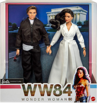 Celebrate return of Wonder Woman in Wonder Woman 1984 with a 2-doll Barbie gift set that shines the spotlight on the timeless romance of Diana Prince and Steve Trevor Relive the pair's most memorable scenes with film-inspired Barbie dolls in detailed, true-to-movie fashions and accessories Diana Prince Barbie doll wears her stunning white gala gown, complete with a wraparound tie detail at the waist. Accessories include a golden cuff bracelet, necklace and nude stilettos Steve Trevor Barbie doll wears an all-black jacket over a white t-shirt with white sneakers, aviator-style sunglasses, a gray waist bag and matching watch Wonder Woman 1984 Barbie dolls look just like their onscreen characters and feature flexibility for powerful poses