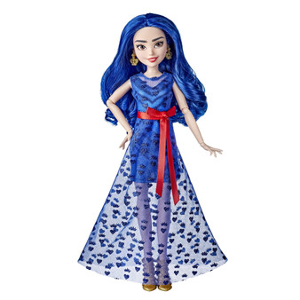 Disney Descendants Reception Dress Evie Doll, Includes Accessories  DISNEY'S DESCENDANTS THE ROYAL WEDDING: This Evie doll is inspired by her character in Disney The Royal Wedding: A Descendants Story, in which her friends Ben and Mal celebrate their wedding day FASHION DOLL WITH ACCESSORIES: This Evie toy includes gold-colored heels and gorgeous crown-shaped earrings 4 HEARTS DRESS: Evie wears an outfit inspired by the one she designs herself, which includes a short royal blue dress with a sheer, glittery, floor-length overlay and a red sash tied in a bow DISNEY'S DESCENDANTS DOLL COLLECTION: Add this Evie doll to your kid's fashion doll collection, and collect more dolls like Evie's friends Mal and Ben. Each sold separately. Subject to availability TOY FOR KIDS AND FANS: This Descendants doll is an amazing birthday gift or holiday present for kids and fans of this story of the descendants of Disney's heroes and villains In Disney The Royal Wedding: A Descendants Story, Mal and Ben celebrate their much-anticipated wedding! On her best friend's special day, Evie rocks her own one-of-a-kind design.  Kids can imagine bringing home their favorite fashion designer with this Evie fashion doll that's inspired by her character in Disney The Royal Wedding: A Descendants Story. She wears a striking outfit made up of a royal blue dress with a sheer, glittery, floor-length overlay. Complete the Evie toy's style with gold-colored heels, crown-shaped earrings, and a bright red sash tied in a bow.  Kids can expand their Descendants doll collection with this Evie doll, and can look for Mal and Ben dolls to recreate Auradon's Royal Wedding or make up stories of their own. (Each sold separately. Subject to availability.)