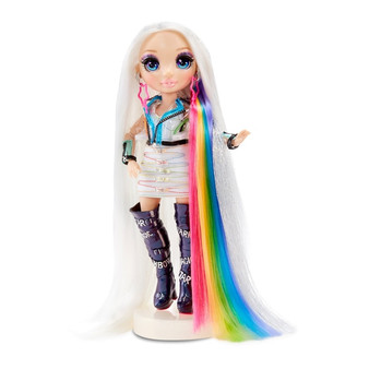 Contents: fully articulated fashion doll, outfit, pair of boots, pair of earrings, 4 hair colour creams, glitter hair gel, ombré hair chalk, hair brush, 5 hairpins and doll stand 5-in-1 Hair Play: colourful Hair Creams, Glitter, Ombré Hair Chalk, Style Accessories, For You & Your Doll Create beautiful rainbow hair for you and your doll Includes exclusive doll, Amaya Raine. Her gorgeous, extra-long platinum hair with silver accents has a peek-a-boo rainbow underneath. She has glam rainbow outfit with a cute top and skirt, translucent jacket, star earrings and showstopping boots Add colour to doll's hair, then easily wash out to give her new styles again and again. Washable hair colour for kids, too When first unboxing doll, wash her hair thoroughly to remove gel and let hair dry completely. Then, she's ready for a rainbow makeover