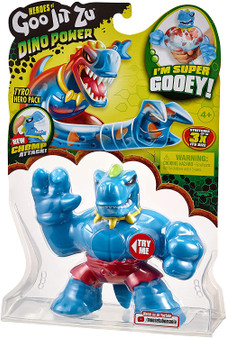 """Heroes of Goo Jit Zu are back to battle with all New Dino Power. All our heroes have gone prehistoric Tyro is all new and has an easy to use """"Chomp Attack"""" jaws Tyro the T-Rex is super gooey! Squeeze his body and watch his clear, squishy filling bulge out! You might even find some dino teeth inside him You can stretch and squish Tyro and he will always come back to his original shape! He can stretch up to 3 times his size Collect all 7 Goo Jit Zu Dino Power Heroes! And prepare for the ultimate squishy, prehistoric battle Heroes of Goo Jit Zu provides kids with a new GOOEY way to play with action figures, with no mess"""