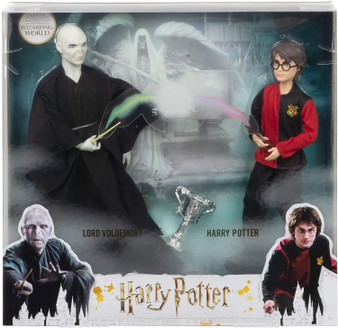 ​Recreate the epic duel between Harry Potter and Lord Voldemort with a 2-pack of collectible dolls inspired by their characters in Harry Potter and the Goblet of Fire ! ​Film-inspired accessories include the Triwizard Cup and a personalized wand for each doll. ​With flexibility at the neck, shoulders, hips, knees, elbows and wrists Harry Potter doll and Voldemort doll are ready for action-play and spellbinding poses! ​Specially designed packaging sets the scene at the Riddle Manor graveyard. ​This collectible Harry Potter set makes a great gift for 6 year olds and up. Fans can collect other Harry Potter dolls and toys to build out the wizarding world and create their own magical stories!