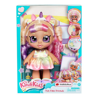 """Includes: Pre-school Kindi Kids 25cm doll, and 2 Shopkin accessories Mystabella loves to create and comes with a """"Magic Reveal Masterpiece""""! Dip my paintbrush in cold water and brush the canvas to see my painting magically appear! I can hold my paintbrush! My head wobbles and bobbles! You can remove my shoes and change my clothes! Dimensions: 25.3L x 14.1W x 10.1H cm"""