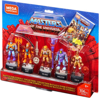 Wrestle Eternia's future from the forces of evil when you build He-Man, Teela, Skeletor, Faker and Beast Man with this ultimate collector's figure pack! Your favorite Masters of the Universe characters come with their iconic weapons and accessories, as well as name plates for deluxe display. Finally, discover the comic book-style playbook inside the pack for some nostalgic building!