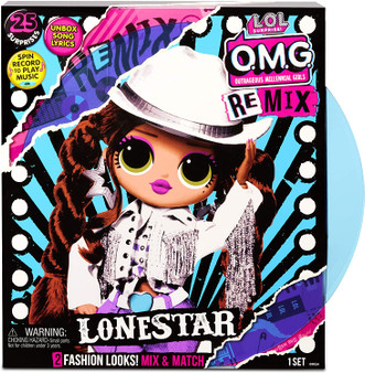Contents: A fashion doll, 2 fashion looks, a pair of shoes, a shoebox, accessories, a hat box, a hair brush, garment bags, a doll stand, a record, a lyric magazine and a record player package that plays music 4 L.O.L. Surprise! O.M.G. Remix fashion dolls to collect (Each sold separately) 25 suprises to collect Remix fashion doll Lonestar has stunning features, styled hair and articulated for tons of poses! comes with 2 fashion looks, but her 2nd outfit got remixed with her BFF, Honeylicious. Collect both to complete her look. (Each sold separately) Lonestar is inspired by country music, from her fierce cowgirl hat down to her spurs Dress Lonestar in her fierce fashions. PRO TIP: Hands are removable for easy dressing Unbox Lonestar's full-size record that really plays music on the package Play the record to reveal Lonestar's country piece of a surprise song.