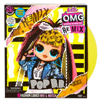 Contents: A fashion doll, 2 fashion looks, a pair of shoes, a shoebox, accessories, a hat box, a hair brush, garment bags, a doll stand, a record, a lyric magazine and record player package that plays music 4 to collect (Each sold separately) 25 surprises to unbox Pop B.B. has stunning features, styled hair and articulated for tons of poses! Pop B.B. is inspired by pop music and all about creating unique fashion combos with her cute denim jacket mixed with her frilly lace skirt PRO TIP: Hands are removable for easy dressing Unbox Pop B.B.'s full-size record that really plays music on the package Play the record to reveal Pop B.B.'s pop piece of a surprise song