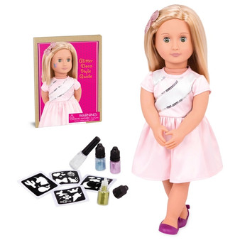 Includes: 1x doll, 1x bow, 1x pair of shoes, 1x dress, 1x pair of undies, 3x glitter tattoo colours, 1x instruction booklet, 4x reusable sticker stencils, 1x bottle of glue Show off Rosalyn's sparkle with her temporary glitter tattoo All that glitters, and a whole lot of fun Get creative with 4 different stencil sheets Doll size 46cm