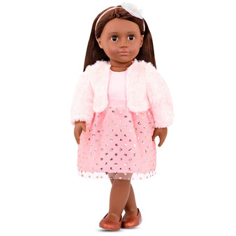 Includes: 1 Our Generation Riya doll, 1 coat, 1 dress, 1 headband, 1 pair of undies and 1 pair of shoes Doll height : 46cm Colours and styles may vary!