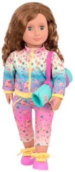 Stretch towards your goals with this beautiful 18-inch yoga doll from Our Generation! This doll has bright green eyes and wavy, warm-brown hair and she loves yoga! She wears a pretty yoga training outfit printed with enchanting flowers, leaves, and butterflies. Her matching pink and yellow sneakers are perfect for a stroll after her yoga class. Her yoga mat looks and feels just like yours! Use the strap as both a handy way to carry her yoga mat, or as a yoga strap to help stretch. For even more outfit options, check out the Happy Sun Salute yoga outfit, or some of the other OG athletic outfits! (
