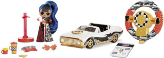 All your B.B.s will be riding in style with the L.O.L. Surprise! RC Wheels – the first ever remote control car for your L.O.L. Surprise! dolls. This fierce car is ultra-stylish, and it's a fully-functioning RC car with an easy-to-steer remote. Includes an exclusive L.O.L. Surprise! J.K. mini fashion doll with real hair, real fashions and real tall shoes. The easy motion control steering wheel makes cruising a breeze. Press the buttons on the remote control wheel to make the car go forward and backward, and turn the wheel like a real steering wheel to turn the car. The car also includes stickers you can use to customize your RC Wheels. The car fits L.O.L. Surprise! dolls and L.O.L. Surprise! J.K. mini fashion dolls.