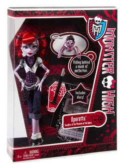 "The ghouls from Monster High are freakishly fabulous! Operetta is the daughter of the Phantom of the Opera Doll is fully articulated so she can be posed in many different ways Includes doll, pet spider Memphis ""Daddy O"" Longlegs, diary, doll stand, brush, and accessory Collect all your favorite Monster High dolls!"