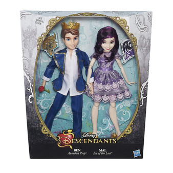 Disney Descendants 2-pack includes set of dolls Dolls looks like Mal Isle of the Lost, daughter of Maleficent, and Ben of Auradon, son of Belle and the Beast Each doll comes wearing a coronation outfits and matching pairs of shoes Mal Isle of the Lost sports a short coronation dress and beautiful pair of heels Includes 2 dolls, 2 outfits, 2 pairs of shoes, and 2 accessories.