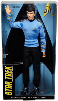 "Calling all Star Trek fans! Celebrate the 50th anniversary of the iconic Star Trek pantheon of film and television! Boldly go with the Mr Spock Star Trek doll - sure to be a fan favorite! Sculpted in the likeness of the original actor, Leonard Nimoy, the doll includes the infamous ""Vulcan Salute"" on one hand and holds a ""communicator"" in the other Includes an authentic replication of the classic costume and fully articulated body"