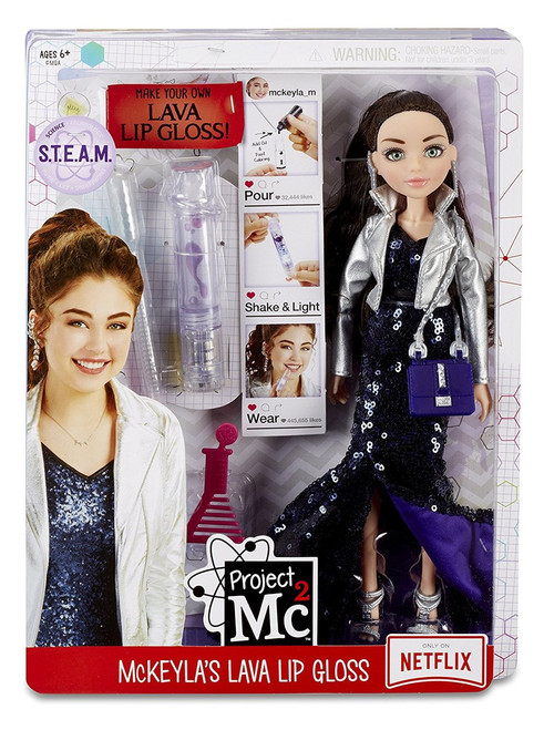 Perform a real science experiment by making your own lava lip gloss with Project Mc2's McKeyla McAlister doll Includes a fun science activity with lava lip gloss container with multi-color LED light base and science pipette to make lip gloss Use household ingredients to complete the experiment Comes with premium articulated McKeyla doll dressed in a gorgeous gown with fancy accessories and premium details