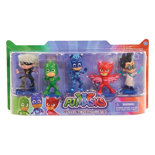 Bring the adventures of PJ Masks home with the PJ Masks Collectible Figure Pack This deluxe pack of PJ Masks 10cm figures includes Catboy, Owlette, Gekko, Luna Girl and Romeo Each figure is set in a dynamic action pose! Perfect for play and display! Dimensions: 8.3x30.5x15.2cm Contents: 5 collectible 10cm figures