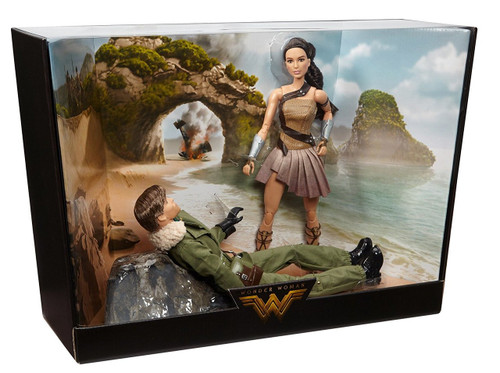 Barbie Wonder Woman Paradise Island Giftset, 2-Pack When Steve Trevor, a U.S. army officer crash lands on the shores of Paradise Island, the Amazon princess, Diana, rescues the pilot and nurses him back to health As she prepares to return Steve to his world, Diana assumes the secret identity, Diana Prince, and is convinced she can help mankind Joining forces in a war to end all wars, Diana soon discovers her extraordinary powers and begins her journey as Wonder Woman This Barbie Wonder Woman Paradise Island Gift Set commemorates the iconic scene on Paradise Island when Diana (Wonder Woman), portrayed by actress Gal Gadot, first meets Steve Trevor, portrayed by actor Chris Pine Both dolls are sculpted and costumed like the movie characters and also feature fully articulated bodies—perfect for high-action poses