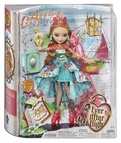 Ever After High Legacy Day Ashlynn Ella Doll Ashlynn Ella doll is ready to spellebrate Legacy Day with a spellbinding dress that features a multi-colored floral print, layered ruffles over a fitted glittery skirt and a golden filigree bodice Her hexquisite cape is decorated with a delicate leaf print and metallic gold leaf trim Spelltacular accessories include a charming crown, translucent pink shoes, golden handbag and a doll-sized key that fits in the book Posable doll comes with a doll stand, doll hairbrush and a book that opens to store accessories Collect all the dolls in the Legacy Day collection(each sold separately)