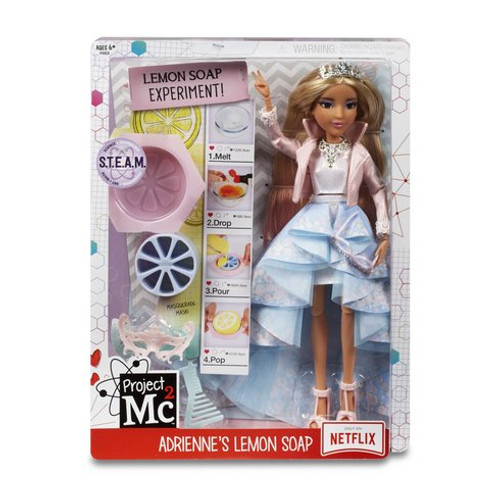 Project Mc2 Adrienne's Lemon Soap - 546863 The girls are ready in their masquerade costumes for their secret spy mission! Fun science activity: make lemon soap again and again with household ingredients and included lemon-shaped soap mould and wedge cutter Fully articulated Adrienne Attoms doll with pink tipped hair Gorgeous masquerade costume and accessories Fashion accessories include: baby pink moto-style, pink masquerade mask, pearl encrusted cat eye glasses, silver princess necklace, and comb to style your doll's hair