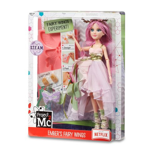 Project Mc2 Ember's Fairy Wing Earring - 546900 The girls are ready in their masquerade costumes for their secret spy mission! Fun science activity: make your own fairy wing earrings with household items included wing mould and two gold clip-on earring backs. Fully articulated Ember Evergreen doll with soft pink curly hair with double lattice braid crown, dressed in a gorgeous woodland fairy-inspired masquerade costume with fancy accessories Accessories include: pink and lilac woodland fairy-inspired dress with green faux wrapped ribbon belt and chiffon ruffles, lavender butterfly masquerade mask, platform sandals with floral details and comb to style your doll's hair