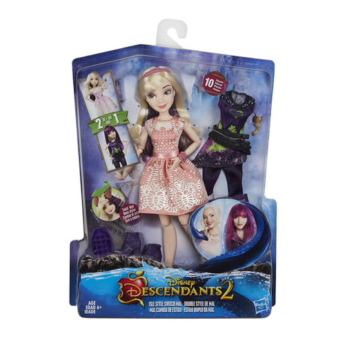 Twist to transform her hair. • 2 looks in 1 doll. • inspired by mal's transformation in descendants 2. Includes doll, headband, brush, belt, 2 outfits, 2 pairs of shoes, and 2 bracelets.