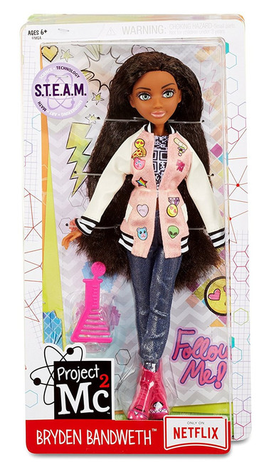 """Project Mc2 545064E4C Core Doll- Bryden Bandweth Tech genius, Bryden Bandweth Articulated doll (hip-shoulder-neck) features saran hair, glass eyes, eyelashes and on-trend """"geek chic"""" fashion Each includes a beaker-shaped comb for hair play Suitable from Age 6"""