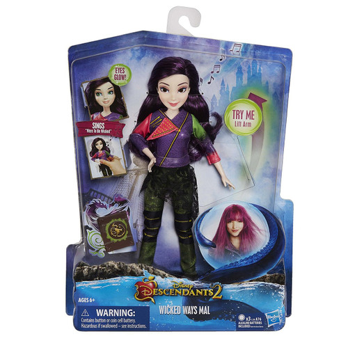 "Disney Descendants Wicked Ways Mal, C1795 Doll sings ""Ways to be Wicked"" • Doll's eyes glow green • Inspired by Mal Isle of the Lost in Descendants 2 Includes doll, outfit, book, instructions, and pair of shoes."