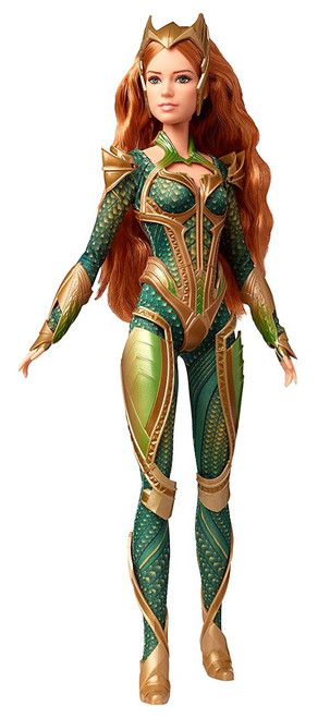 """Barbie Justice League Mera Figure - DYX58 Facing a great enemy, Wonder Woman and Batman join forces to recruit a group of meta-humans to stand against this newly awakened threat Having formed an unprecedented league of heroes, they set out to save the planet from an assault of catastrophic proportions in Warner Bros. live-action feature film, Justice League A Princess of Xebel, one of the Seven Kingdoms of Atlantis, Mera is dedicated to protecting the oceans; she is a great undersea warrior, with a unique hydrokinetic ability to manipulate water with just her thoughts This Barbie Mera doll is sculpted and costumed just like the movie character This oceanic force has long, wavy red hair and wears a body suit with """"scales"""" and intricately sculpted body armor, boots and crown"""