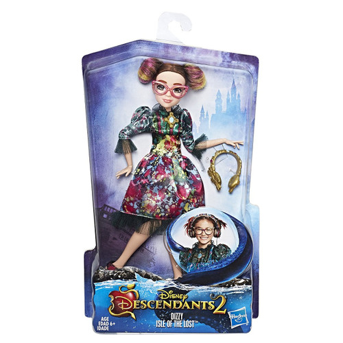 Inspired by Dizzy of the Isle of the Lost in Disney's Descendants 2 Doll comes wearing a fashionable outfit with matching boots Reimagine awesome scenes from the movie Includes doll, outfit, glasses, headphones, and pair of shoes Ages 6 and up