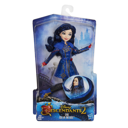 Inspired by Evie in Descendants 2 Doll comes wearing a fashionable outfit with matching pair of shoes Look for other Disney Descendants dolls (each sold separately) Includes doll, outfit, belt, collar, and pair of shoes.