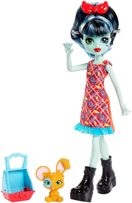 Monster High sibling doll and pet sets expand the Monster High family with new members to meet, love and add to your family The younger sister of Frankie Stein, Alivia Stein doll comes with her hybrid bunny-mouse figure and a pet carrier she can carry on one arm The 55-inch doll can stand on her own and wears a monsterrific dress with an iconic print, red bow and cool boots; the pet carrier matches with bright colors and fangtastic decorations The young daughter of Frankenstein shows her age and monsterrific legacy with large feet, stitches, head bolts and streaked hair Her pet beastie has one mouse ear and one bunny ear, a blue patch of color circling one eye and textured whiskers that make it ahhh-dorable