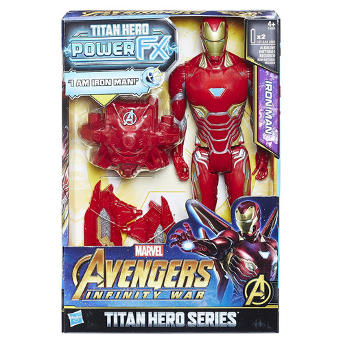 12-inch-scale Iron Man figure with movie-inspired design Connect Titan Hero Power FX pack to activate sounds & phrases Titan Hero Power FX pack connects to compatible Titan Hero Series figures (each sold separately) Inspired by Avengers: Infinity War movie Collect Titan Hero Series and Titan Hero Power FX figures (each sold separately) Includes figure and instructions. Ages 4 and up.