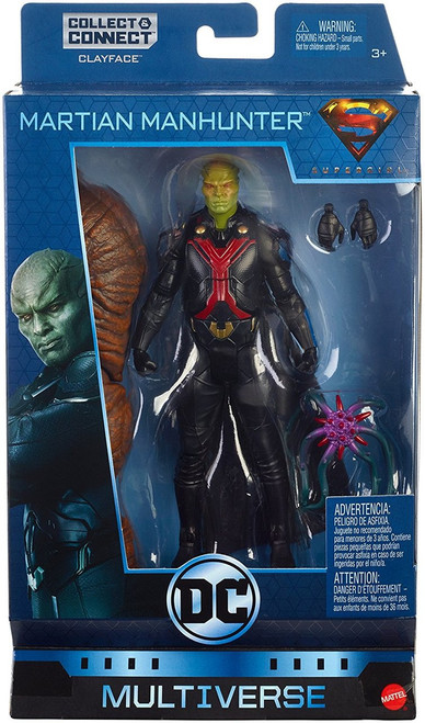 """Highly detailed 6"""" key DC character figure Martian Manhunter from the Supergirl television series 21 points of articulation, detailed paint and iconic elements Full assortment includes Superman, Batwoman, Two Face, Green Lantern and more Connect and collect bonus pieces to build a Clayface figure! Each sold separately, subject to availability. Colors and decorations may vary Great gift for DC Comics fans!"""