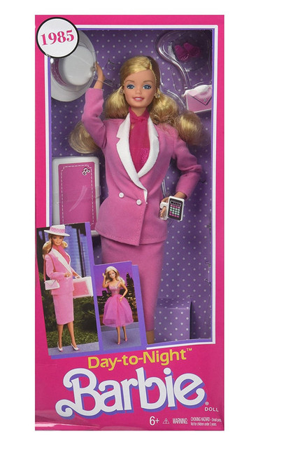 The ultimate career woman-Day-to-Night Barbie doll- is back as a reproduction doll! Featuring her famous soft pink power suit that transforms into a shirred skirt evening look, it's her first day-to-night ensemble.  Day to Night Barbie celebrates the women's workplace revolution of the 1980s with the ultimate wardrobe transformation! Accessories include a chic hat, briefcase, calculator, two pairs of shoes and a purse.