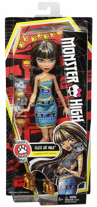 Celebrate the beast friends of Monster High with doll and pet sets that are monsterrific fun! Cleo de Nile doll has her adorable kitten and a golden feeding dish She comes alive wearing a dress with a print in her signature teals and golds with wrap details A golden arm bangle and golden wrap-inspired heels are to-die-for Her scary cute gray cat looks regal with a golden necklace