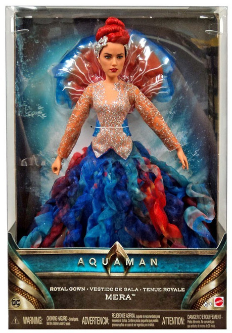 """Premium 12"""" scale Mera fashion doll in royal gown State of the art actress likeness True-to-movie accessories include jellyfish collar, tiara, shimmery accents and sandals Comes with a collector's stand for display Also choose Mera doll in battle suit for a special display. Sold separately, subject to availability"""