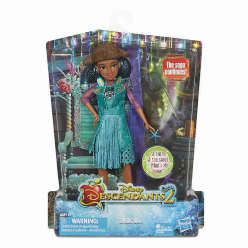 """Doll sings hit song from Disney's Descendants 2, """"What's My Name"""" Doll comes in an outfit fit for a leader of the high seas Inspired by Uma of the Isle of the Lost in Descendants 2 Includes doll, outfit, hat, pair of shoes, and instructions Ages 6 and up"""