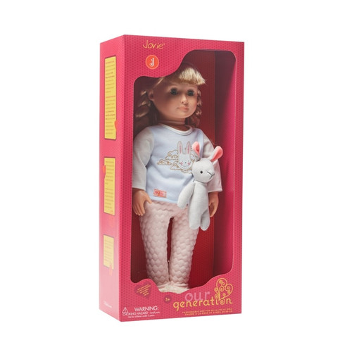Fashionable and Fun 46 cm Doll When it comes to bedtime stories, we're all ears! Contents: 1 doll, 1 pair of undies, 1 pajama top, 1 pajama bottom, 1 pair of socks and 1 stuffed bunny