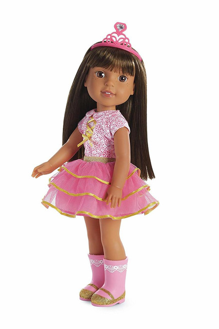 """Ashlyn is a princess-in-training (and party-planner Extraordinaire) She's just the one to turn a friend's frown upside-down This 14.5"""" (36.8 cm) doll is sized just right for younger girls She has brown eyes, freckled cheeks, and long silky brown hair that can be brushed and styled Collect all of your favorite welliewishers!"""
