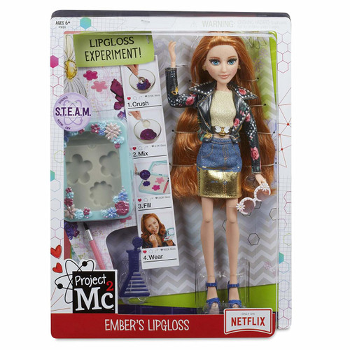 Earthy scientist, Ember Evergreen, dressed in NEW rock band theme! Premium fashion featured in TV episodes. Fully articulated doll (knees, hips, wrists, elbows, shoulders, neck) features premium saran hair, glass eyes and eyelashes. MAKE YOUR OWN LIP GLOSS STAIN: Apply provided lip gloss to lips, the apply gloss powder onto lips in fun colored patterns. Finish by applying more lip gloss to seal in powder. Try different color combinations! Includes compact with lid, lip gloss, applicator brush and comb for doll. Household ingredients not included.